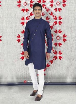 Cotton Fabric Blue Kurta Set