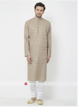 Cotton Fabric Brown Color Kurta Pajama