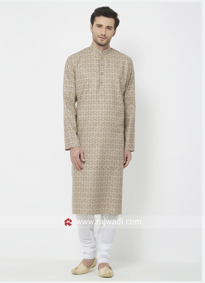 Cotton Fabric Brown Color Kurta Pajama