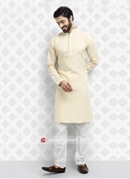 Cotton Fabric Cream Kurta Pajama