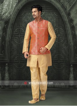 Golden Yellow Silk fabric Nehru Jacket
