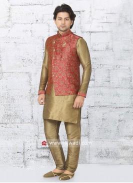 Charming Brocade Silk Nehru Jacket