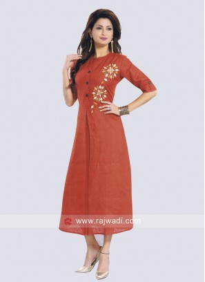 Cotton Fabric Rust Kurti