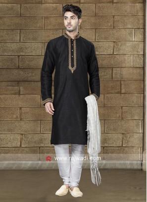 Art Dupion Silk Fabric Black Kurta Set