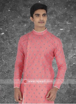 Round Neck Peach Color Kurta