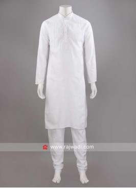 Cotton Fabric White Kurta Set