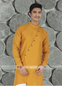 Cotton Fabric Golden Yellow Kurta
