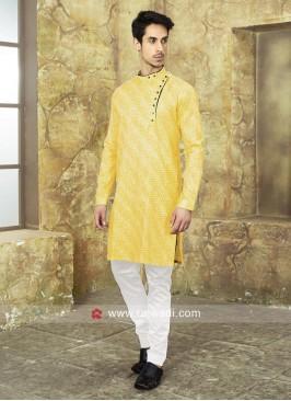 Cotton Fabric Yellow Kurta Set