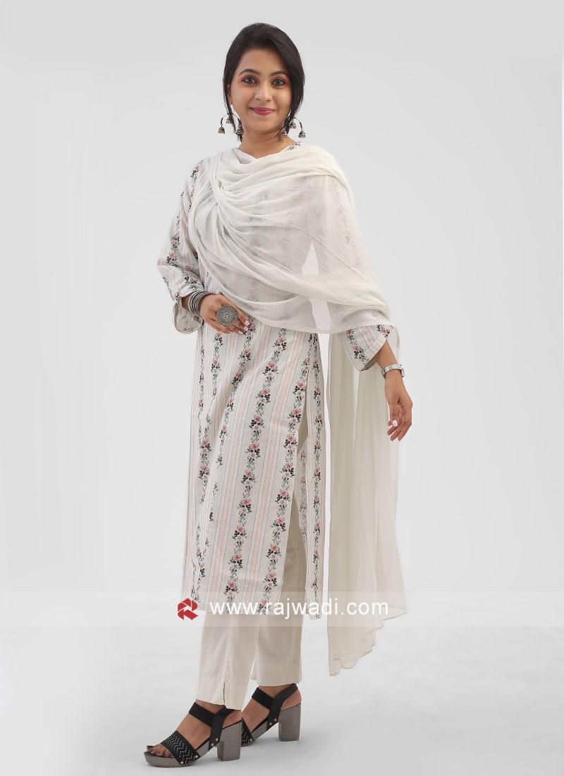 Cotton Floral Printed Pant Style Suit