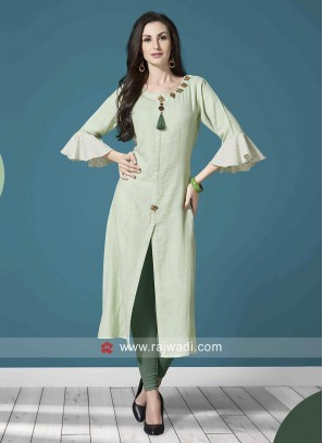Cotton Front Slit Kurti with Bell Sleeves