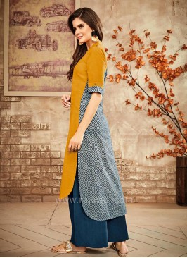 Cotton High Low Palazzo Kurta Set
