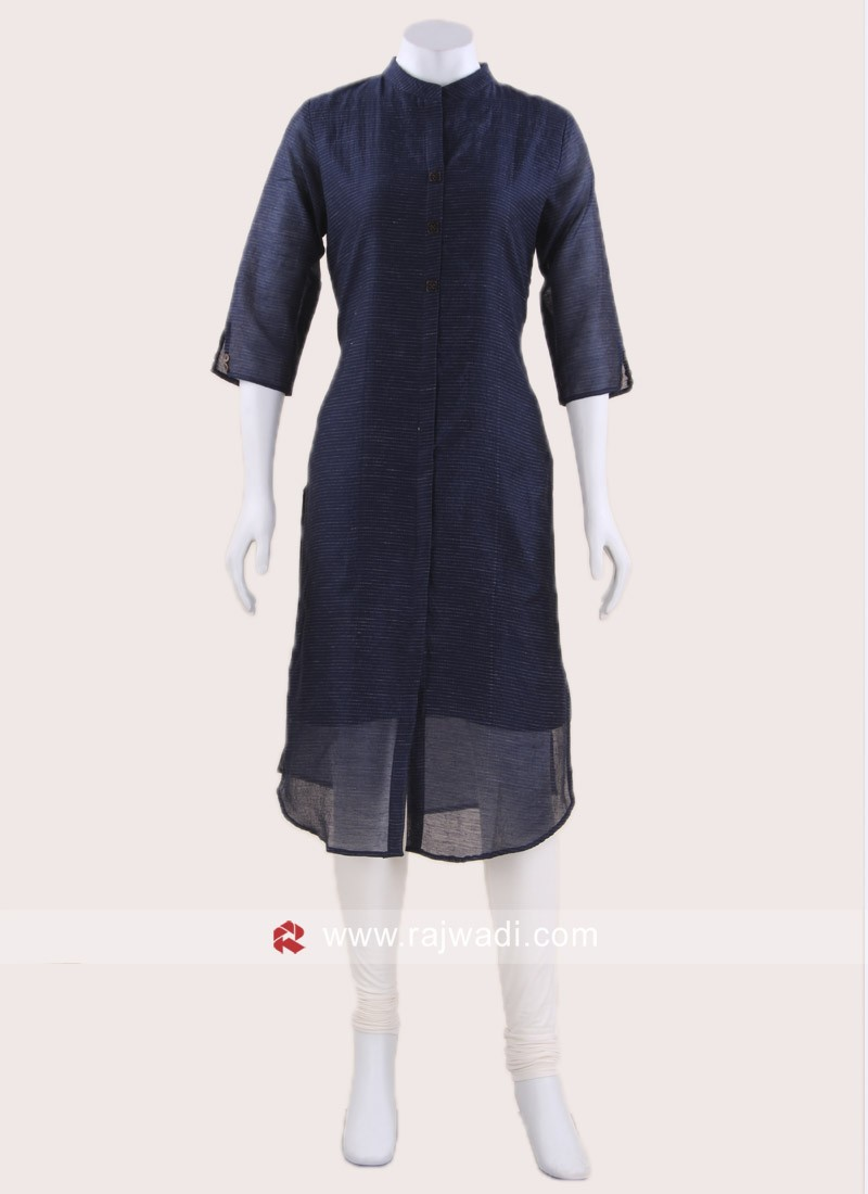 Cotton Knee Length Tunic in Navy Blue