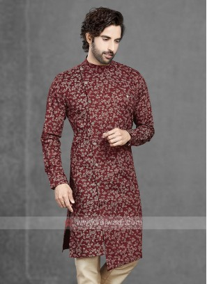 Cotton Kurta In Maroon