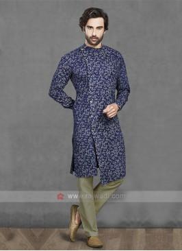 Cotton Kurta Pajama In Blue & Cream
