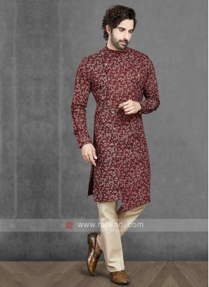 Cotton Kurta Pajama In Maroon & Cream