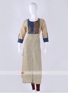 Cotton kurti in beige color