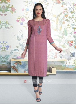 Cotton Kurti In Dusty Rose Pink Color