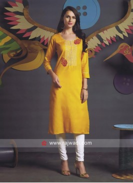 Cotton Kurti in Mustard Yellow