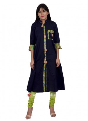 Cotton Kurti in Navy Blue