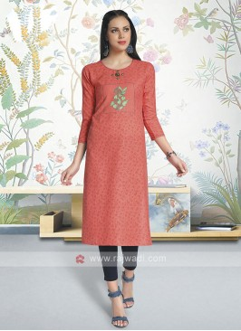 Cotton Kurti In Orange Color