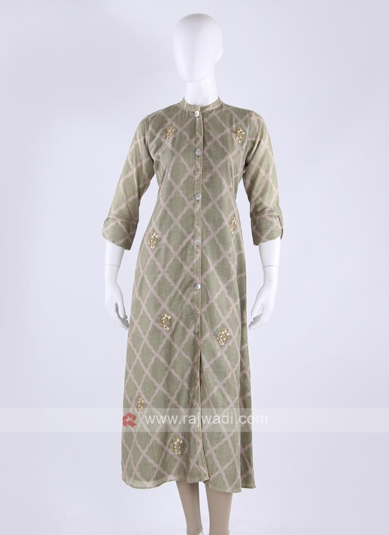 Cotton kurti in pista green color