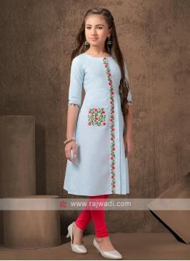 Cotton kurti set in light teal color