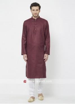 Cotton Maroon Color Kurta Pajama