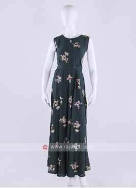 Cotton maxi dress in bottle green color