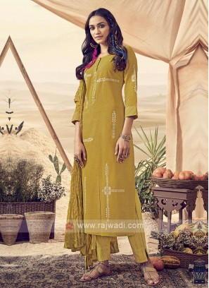 Shagufta Cotton Mustard Yellow Pant Salwar Suit