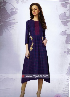 Cotton Navy Blue Checks Kurti