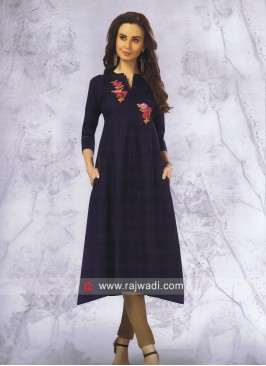 Cotton Navy Blue Checks Kurti with Pocket