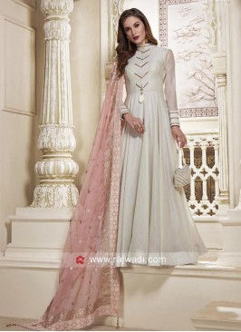 Cotton Net Designer Full Length Anarkali Dress