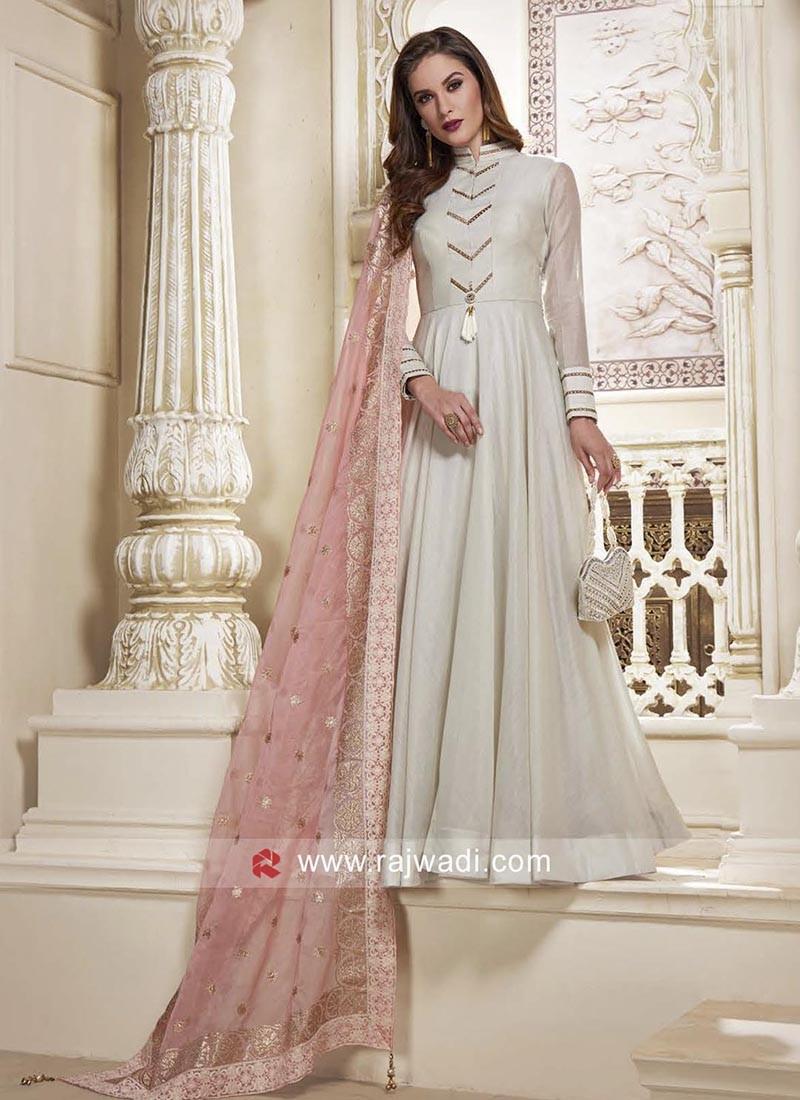 Cotton Net Designer Full Length Anarkali Dress