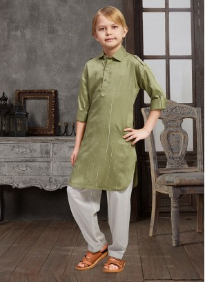 Cotton Olive Green Color Boys Pathani Suit