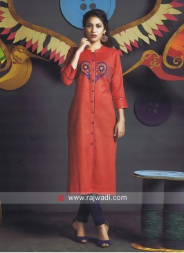 Cotton Orange Kurti