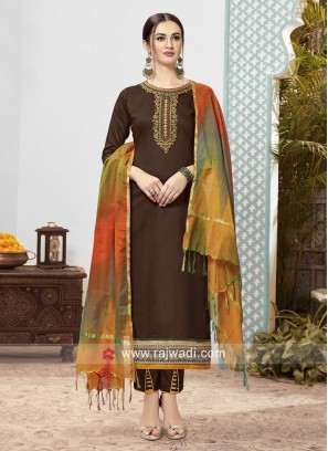 Cotton Pant Style Suit in Brown