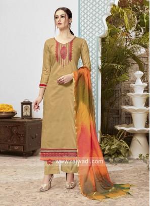 Cotton Party Wear Suit with Banarasi Silk Dupatta