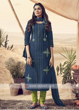 Shagufta Cotton Peacock Blue Churidar Salwar Suit