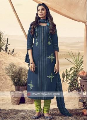 Shagufta Cotton Peacock Blue Churidar Salwar Suit