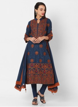 Cotton Printed Churidar Suit In Blue Color