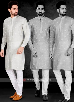 Cotton Printed Grey Kurta