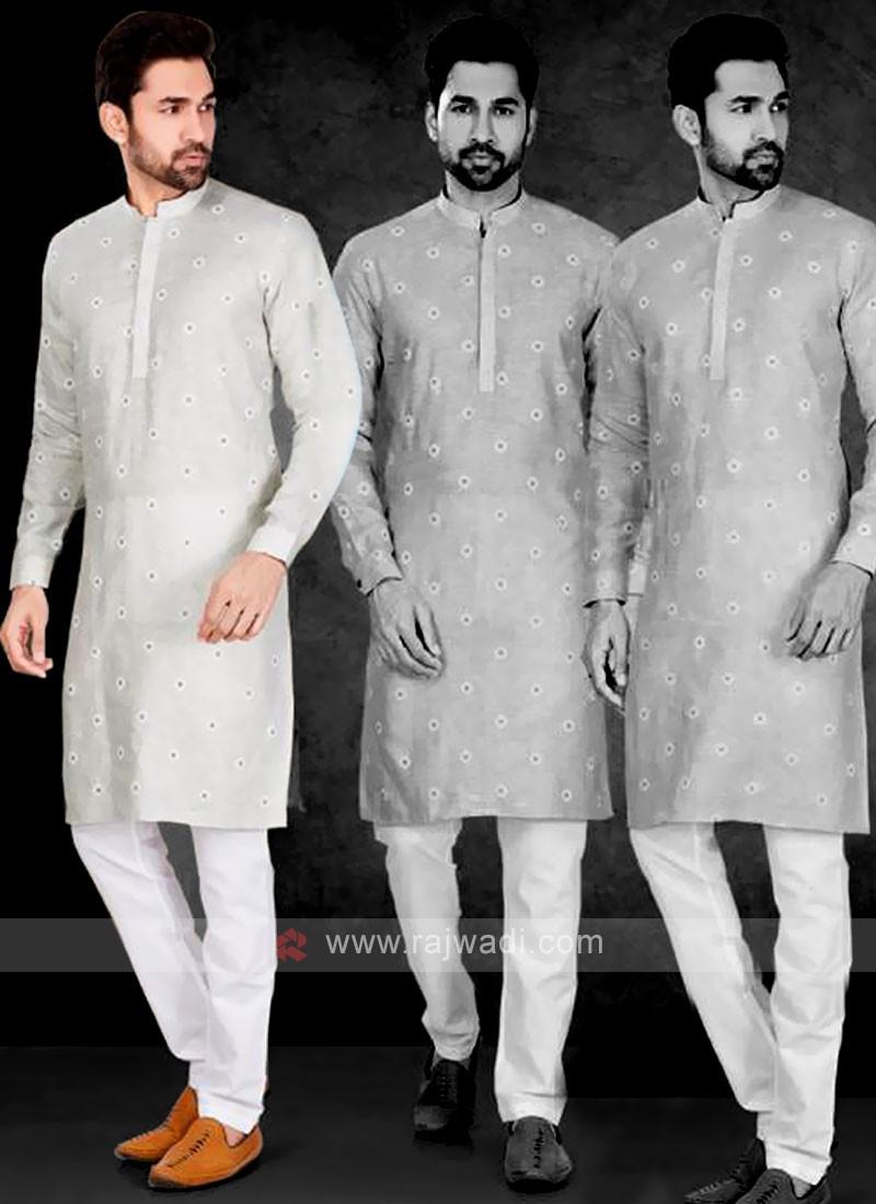 Cotton Printed Grey Kurta