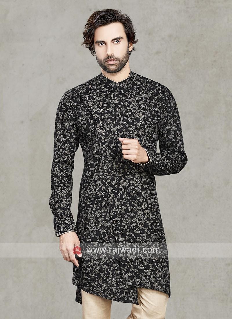 Cotton Printed Kurta In Black