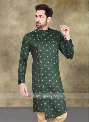 Cotton Printed Kurta In Green
