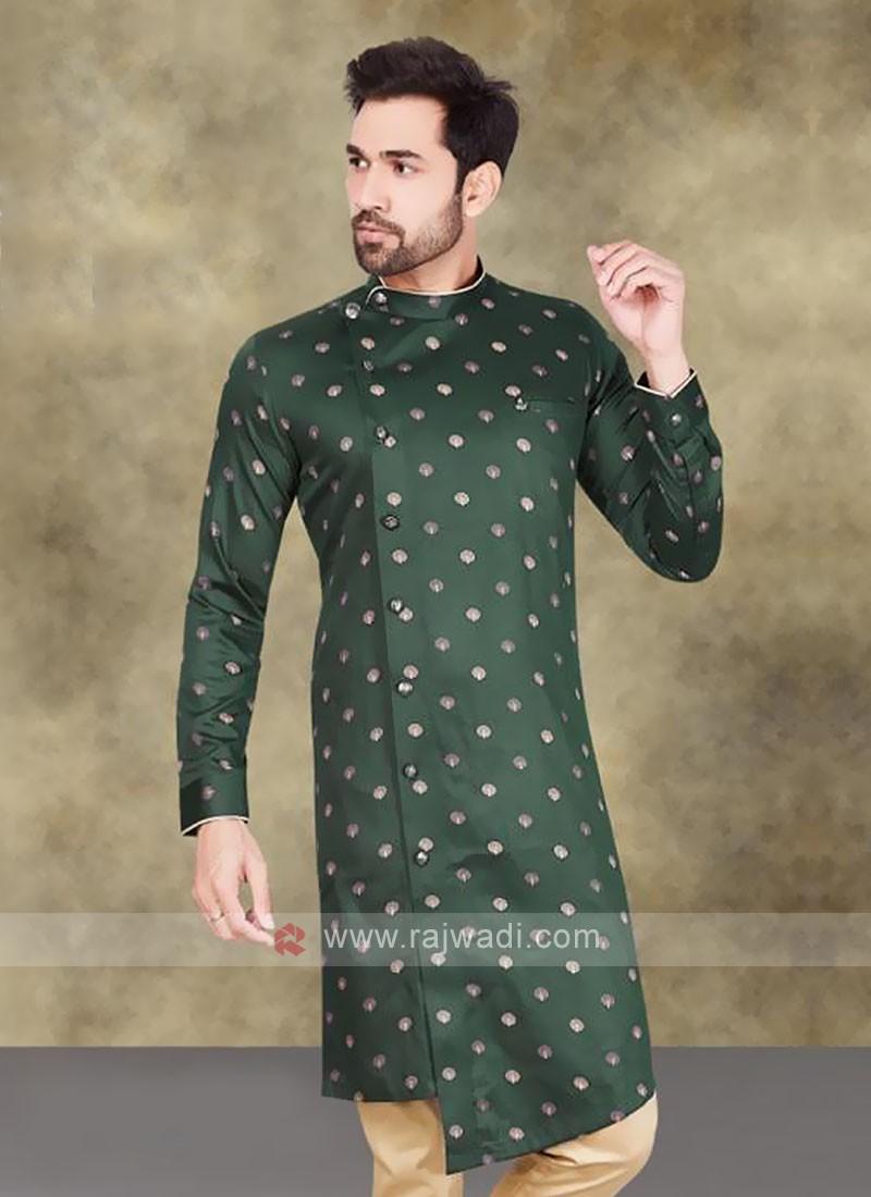 Cotton Printed Kurta In Green