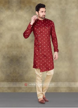 Cotton Printed Kurta In Maroon