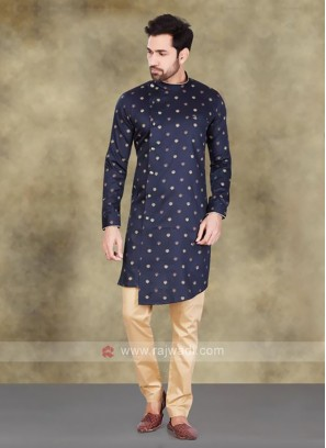 Cotton Printed Kurta In Navy Blue