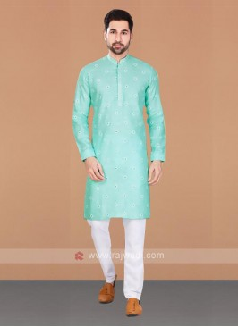 Cotton Printed Light Green Kurta