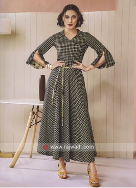 Cotton Printed long Kurti with Shirt Collar