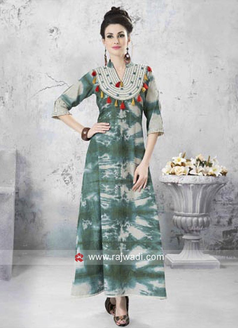 Cotton Printed Long Kurti with Tassels